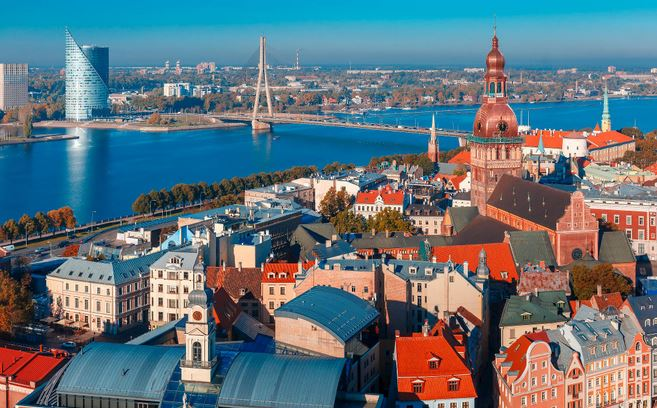 Beautiful Latvian river Town