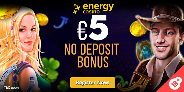 Special banner to get €5 No deposit bonus at Energy Casino